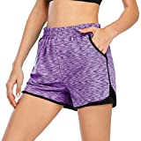 Gym Shorts for Women Athletic,Cucuchy Maternity Shorts Loose Fit Yoga Athleisure Wear 2 in 1 Pockets Waist Brezzy Running Wearing Basketball Baseball Exercise Short Pants Purple L