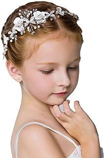 Campsis ناز شاهزاده عروسی سر و صدا گل سفید گل سرخ مروارید لوازم جانبی برای دختران و زنان عروسی Tiaras عروسی برای گل دختر و عروس.