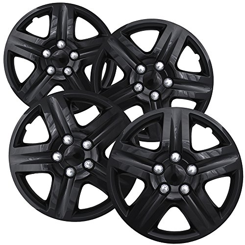 16 inch Hubcaps Best for 2006-2013 Chevrolet Impala - (Set of 4) Wheel Covers 16in Hub Caps Black Rim Cover - Car Accessories for 16 inch Wheels - Snap On Hubcap, Auto Tire Replacement Exterior Cap
