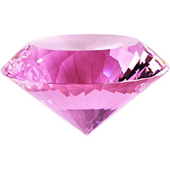Crystal Glass Diamond Shaped Decoration, Pink 60mm Jewel Paperweight,Gift Decoration Idea For Christmas, Thanksgiving (Please identify our brand Yarr Store)