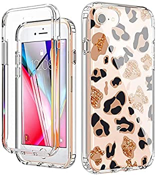 YiYiYaYa for iPhone 6 6S 7 8 Case iPhone SE 2020 Case with Built in Screen Protector Clear Floral Pattern for Girls Women Full Body Shockproof Case for iPhone 6/6s/7/8/SE 2020 Golden Leopard