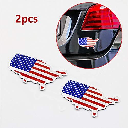 Chrome Métal 3D Decal Sticker US USA Carte Américaine Drapeau Emblème 4cm × 7cm Badge Voiture De Course Sport Graphique Decal