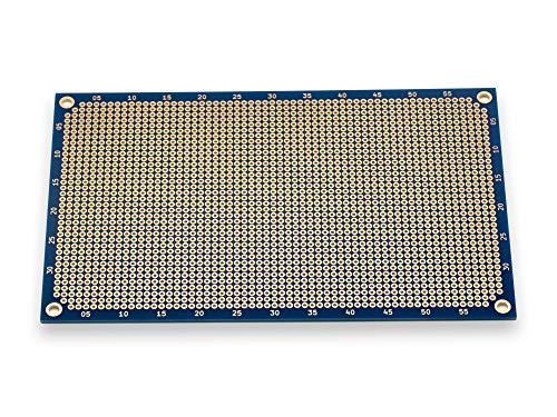 Premium Lochrasterplatine   Lochrasterplatte   Leiterplatte   Euro-Platine   PCB   Doppelseitig mit runden Pads   160 x 100 mm   Blau   2,54 mm Rastermaß