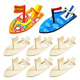Swetup 8 Piezas Mini Barco de Madera de Bricolaje, Velero de Madera de Bricolaje, Juguetes educativos, Utilizados para Bricolaje, Entretenimiento para Niños, Entretenimiento Acuático