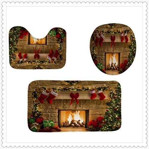 TBBA douchegordijn Kerstman waterdichte schimmel weerstand polyester stof badkamer textiel patroon afdrukken badgordijn met haken 180 * 180cm