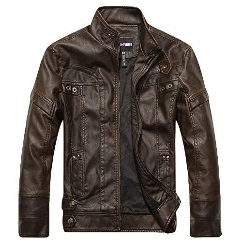 Manteau Homme Chaud Hivers en Cuir à La Mode Slim Vestes en Cuir Zippé Couleur Unie Casual Jaker Pardessus Duffle Coat (XL, Marron1)