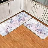 GugeABC Juegos de alfombras de Cocina 2pcs,Plumas y Cuentas de atrapasueños Azules Indio,Alfombrilla Suave Lavable Antideslizante para baño de Entrada de Cocina