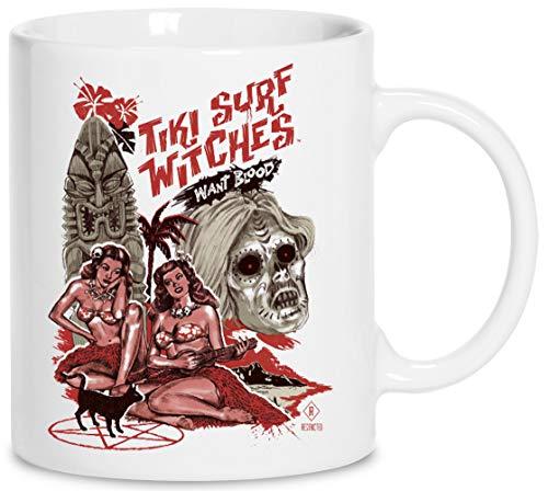 Tiki Surf Witches Want Blood - Tiki Cerámica Blanco Taza Cup Mug