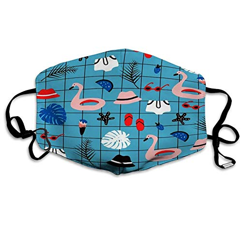 Gezichtsmasker mondbedekking zomerelementen creatieve textuur palm flamingo zwemmen