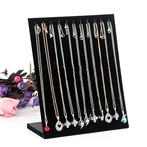 11 gancho colgante joya organizador de moda soporte de exhibición en forma de L pulsera cadena collar accesorios estante organizador negro