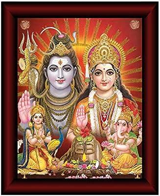 SAF Shiva Parivar Framed Acrylic Glass Painting 14 inch x 11 inch SANFR25