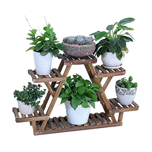 QPLKKMOI Creative 3 Layer Solid Wood Flower Rack, Multifunctional Storage Rack (Size : Small)