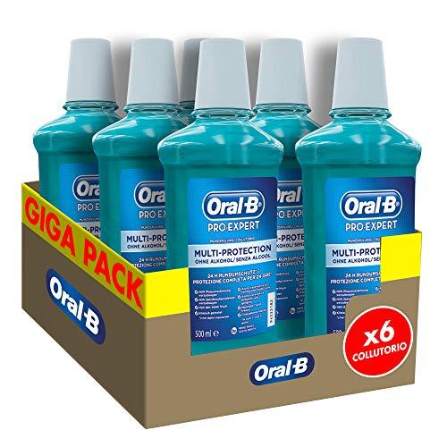 Oral-B Pro-Expert Collutorio Multi Protezione per l'Igiene Orale, Pulizia Completa della Bocca, Maxi Pacco da 6 x 500 ml