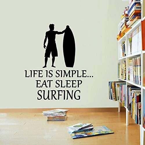 Tianpengyuanshuai zee strand muursticker aanbieding surf vinyl muursticker decoratie van het huis surfer golf vinyl amateur surf geschenk kunst zwart 80 x 89 cm