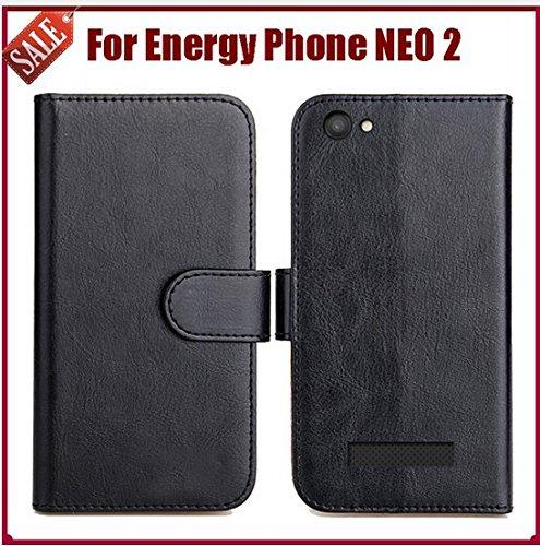 PREVOA Funda para Energy Sistem Neo 2 - Flip PU Funda Case Protictive para Energy Sistem Neo 2 Smartphone - Negro -