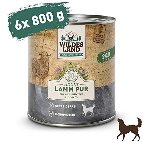 Wildes Land | Lamm PUR | 6 x 800 g | Mit Distelöl und Wildkräutern | Nassfutter für Hunde | Hoher Fleischanteil | Hohe Akzeptanz | Getreidefreies Hundefutter