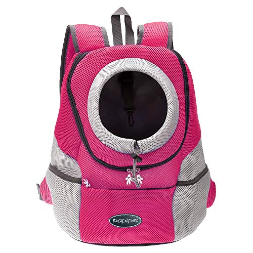 papipet Pet Carrier Backpack, Dog Cat Front Pack with Breathable Head Out Design for Small Medium Dogs for Travel Hike Outdoor (XL, Pink)