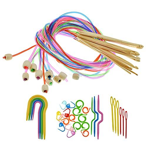 Zhenyuding Agujas Ganchillo de Bambú 12 Piezas Crochet Ganchillos Crochet Kit Ganchos de Ganchillo Agujas de Crochet Set Agujas Ganchillo Agujas de Tejer con Accesorios de Tejer