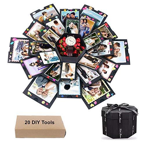 sinzau Surprise Box, DIY fotoalbum voor liefdesherinnering, 20 doe-het-zelf gereedschap, zwart