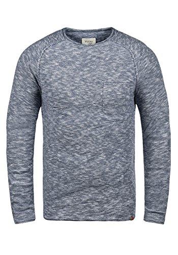 Blend Bagger Herren Strickpullover Feinstrick Pullover Mit Rundhals Und Brusttasche Aus 100% Baumwolle, Größe:M, Farbe:Navy (70230)
