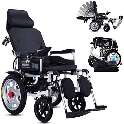 Silla de ruedas eléctrica plegable De peso ligero plegable silla de ruedas eléctrica, Silla de ruedas eléctrica con el apoyo for la cabeza, con respaldo reclinable y Dual potente motor portátil de via