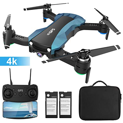 HUKKKYVIT Foldable GPS Drone with HD 4K Camera 5G WiFi...