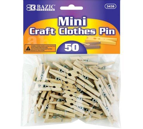 BAZIC Mini Natural Clothespins Wood 50 Per Pack