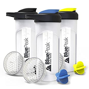 BluePeak Protein Shaker Bottle 28-Ounce 3-Pack with Dual Mixing Technology BPA Free Shaker Balls & Mixing Grids Included  Yellow Blue & Black