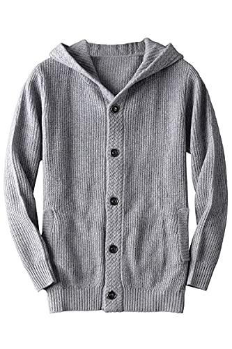 Cárdigan grueso de lana merino con botones para hombre con capucha - gris - Small