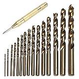 Mozusa Taladro 15pcs métrica M35 cobalto Acero Conjunto resistente al calor Bit rosca Taladro con caña recta 1.5-10Mm acero Pounch de Split broca de acero de la correa automática 1Pc Punzón Herramient