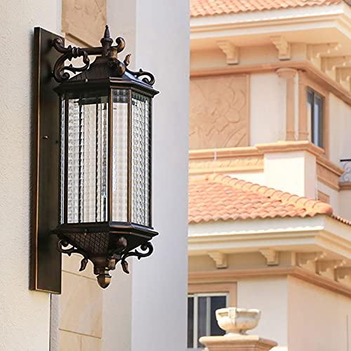 SXNYC Lampada da Parete Impermeabile per Esterni, Alluminio e Vetro, Attacco E27, IP44, Nero, per Giardino Cortile Balcone Giardino