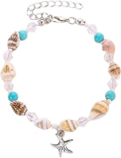 Beiswe Bohemia Turquoise Conch Anklet Adjustable Crystal Beaded Ankle Bracelet with Starfish Pendant Beach Jewellery