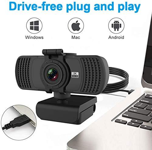 Webcam 2K mit Mikrofon, 2020 Upgrade Webcam 1080P Full HD, USB Webcam mit Festem Fokus und Stativ für Laptop, Computer, PC, Desktop, für Live Streaming, Videoanruf, Konferenz, Online Unterricht, Spiel