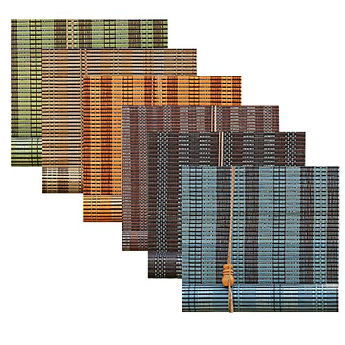 Cortina De Bambú -Toldo Vertical,Elaborado -no Es Fácil De Deformar,Pantalla De Privacidad,Persiana Estor De Bambú,Proteger La Privacidad,Persiana Enrollable De Bambú,Verde, Color Madera, Azul
