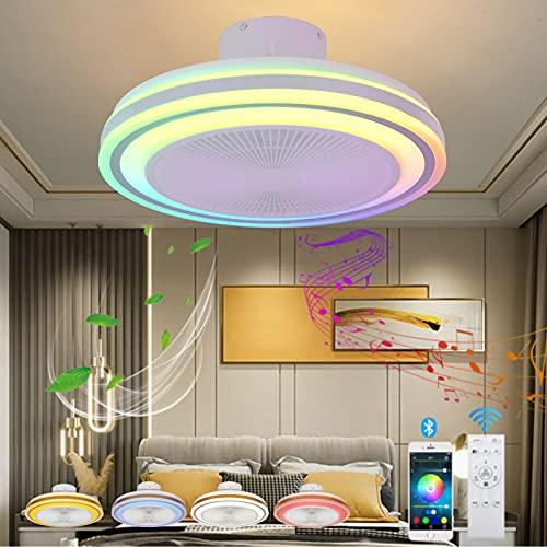 VOMI Mando a Distancia Ventilador de Techo con Luz Dormitorio Lámpara de Techo Regulable LED con Bluetooth Altavoz RGB Cambios de Color Lámpara de Silencioso Ventilador para Salón