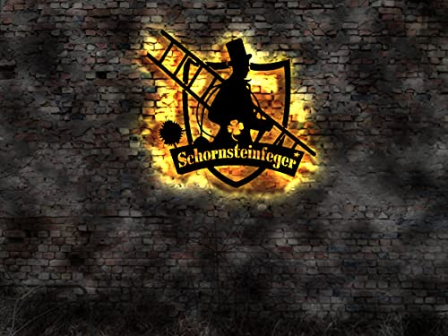 Schornsteinfeger Schild Anhänger Aufkleber Figur Buch Kaminkehrer Leuchtreklame sign-shirt Fahne Leuchtschild Besen Kehrbesen