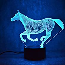 Panpen 3D Galloping Horse lamp Night Light Touch Table Desk Optical Illusion Lamps 7 Color Changing Lights Home Decoration Xmas Birthday Gift