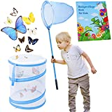TEPSMIGO Butterfly Net Habitat Cage Pop-up Terrarium, Summer Kids Outdoor Toys with Foldable Net and Colorful Bug Guide, Bug Catcher Kit Outdoor Exploreration, Gift for Boys Girls Ages 3+