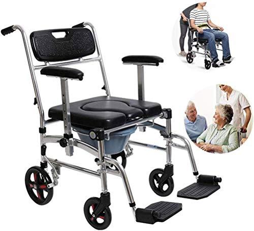 XUSHEN-HU Silla de ruedas multifuncional plegable silla de ruedas ligera con respaldo y reposabrazos, plegable con un botón, reposabrazos, silla de ruedas