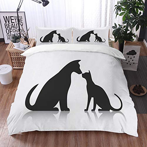 Duvet Cover Bedding Sets,Friends Pet Animals Wildlife Dog Friendly Silhouette Together Puppy Commercial Sitting Profile Gro,3-Piece Comforter Cover Set 200 x 200 cm +2 Pillowcases 50 * 80cm