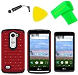 Dazzle Bling Hybrid Cover Phone Case + Screen Protector + Extreme Band + Stylus Pen + Pry Tool For LG Destiny L21G / Sunset L33L LG-L33L / Power L22C (Hybrid Spot Bling Black -Red)