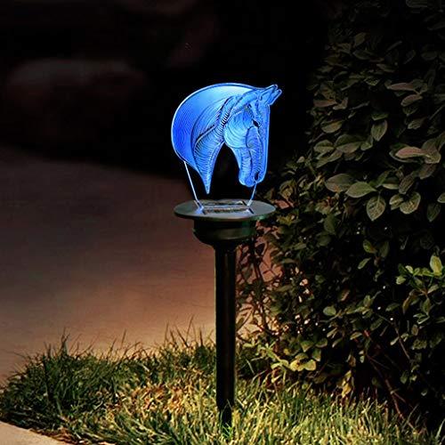 Dapei Solar Licht 3D Pferdekopf LED Lampe Gartendeko LED Nachtlicht IP65 Wasserdicht Acrylmaterial Aussehen Solar Landschaft Weg Lichter Hof Lampe