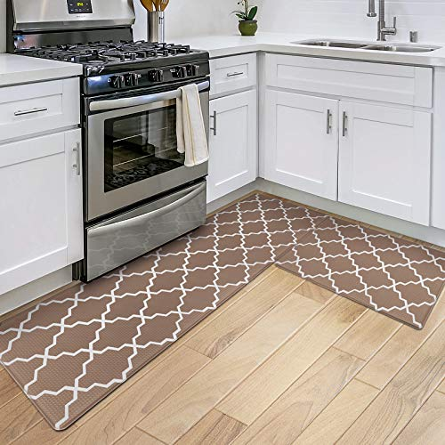 DEXI Kitchen Rugs and Mats Cushioned Anti Fatigue Runner Rug Waterproof Standing Mat 2 Piece Set,17