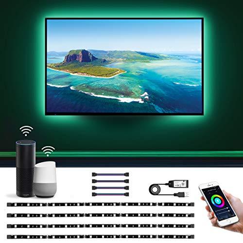 LE Striscia LED RGB Alexa Intelligente per TV USB Ricaricabile 2M, Smart Strisce WiFi Controllo da Voce e App, 16 Millioni Colori e Luce Dimmerabile Compatibile con Alexa/Google Home (4x Strisce 50cm)