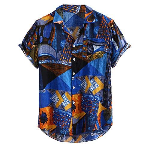 haoricu Men's Summer V Neck Shirts Casual Loose Stripes Print Short Sleeve Button Up Shirts Blouse Tops