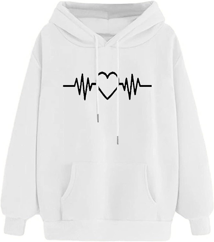Hoodie for Teen Girl, Women Hooded Sweatshirt Heartbeat Junior Sports Blouse Long Sleeve Casual Pullover Tops