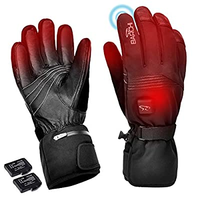 Heated Gloves for Men Women, Touch Screen Electric Rechargeable Battery Powered Lightweight Palm Leather Thermal Hand Warmer Arthritis for Cycling Hiking Motorcycle Riding Outdoor Sports (XXX-Large)