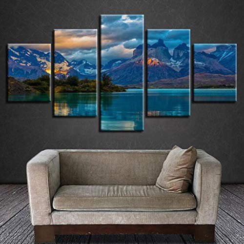 Fotolijst voor riem met vijf muurstickers moderne kunst five pieces HD Mountain Peak landschapsdecoratie high-end Home Lake and Mountain Painting