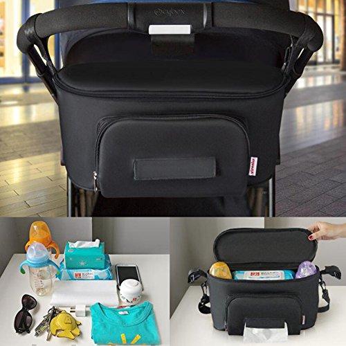 LeRan Carrozzina universale Sacchetto di immagazzinaggio dell'organizzatore di Buggy Organizzatori per passeggini per bambini impermeabili con ampio spazio di archiviazione per portafogli, pannolini, libri, giocattoli, iPad, portabicchieri per mamma, acce