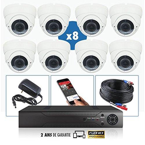 Kit de videovigilancia con 8 cámaras Pro Full AHD 1080P Sony 2.4 MP – 6000 GB, 7 cables de 40 m + 1 20 m, pantalla de 19 pulgadas